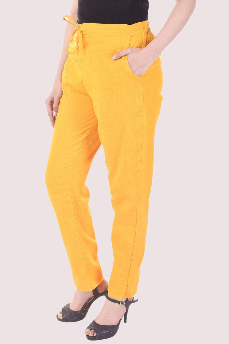 Yellow Cotton Slub Solid Women Pant-33296