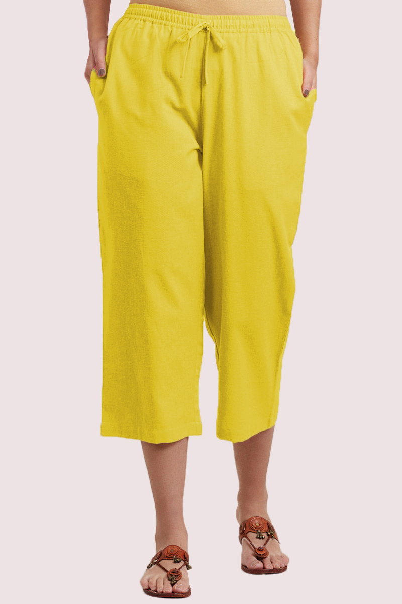 Yellow Cotton Solid Women Culottes-33864