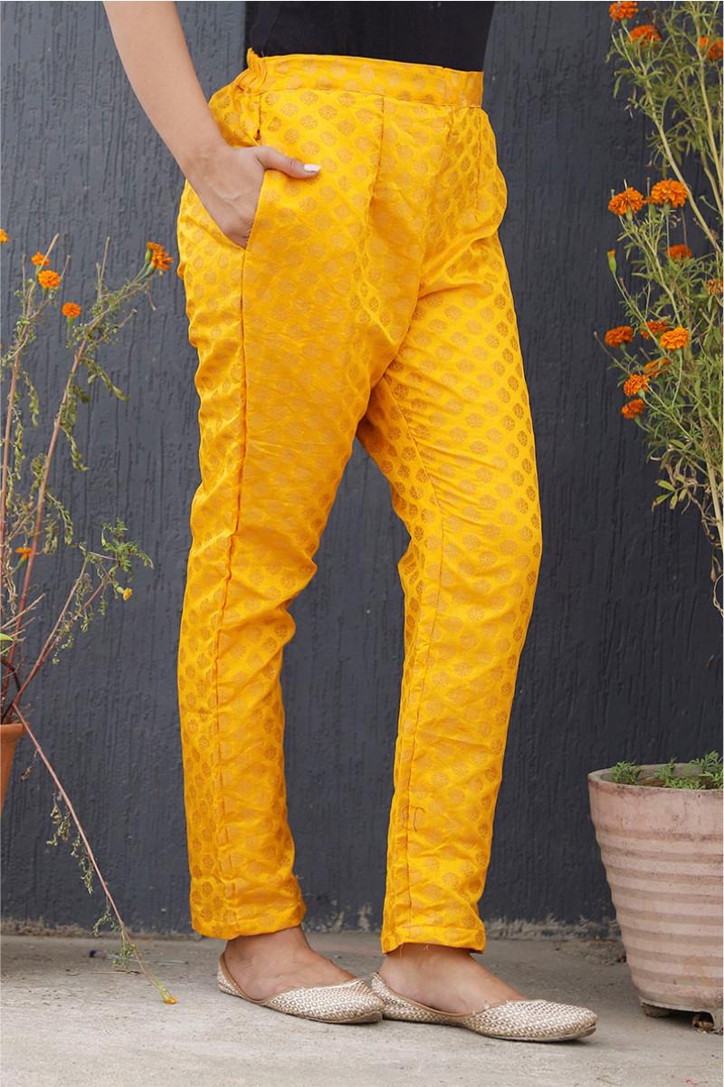 Yellow Golden Brocade Silk Ankle Women Pant-34209