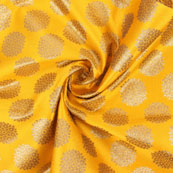 Yellow Golden Brocade Silk Fabric-8975