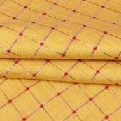 Yellow Golden Checks Zari Brocade Silk Fabric-9286