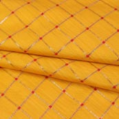 Yellow Golden Checks Zari Brocade Silk Fabric-9289