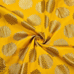 Yellow Golden Circle Brocade Silk Fabric-12139