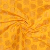 Yellow Golden Circle Brocade Silk Fabric-9211