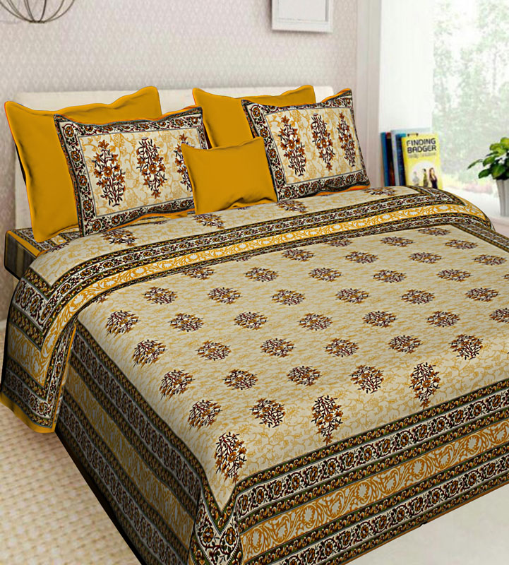 Yellow Golden Cotton Jaipuri Bedsheet-598