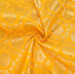 Yellow Golden Floral Brocade Silk Fabric-12118