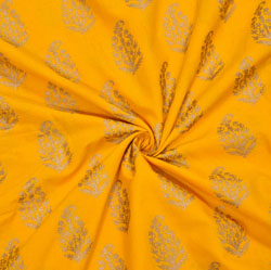 Yellow Golden Floral Cotton Fabric-28073