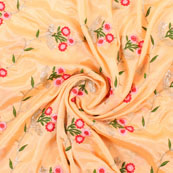Yellow Golden Flower Embroidery Chinon Fabric-35014