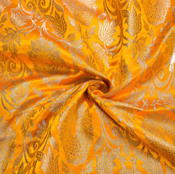 Yellow Golden Kinkhab Banarasi Silk Fabric-12177