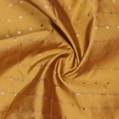Yellow Golden Polka Brocade Silk Fabric-9361