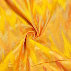 Yellow Golden Zig-Zag Brocade Silk Fabric-12443
