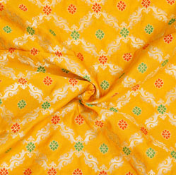 Yellow Golden and Green Floral Brocade Silk Fabric-12539