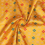 Yellow Golden and Green Leaf Brocade Silk Fabric-9367