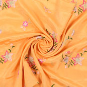 Yellow Golden and Pink Flower Embroidery Chinon Fabric-35003