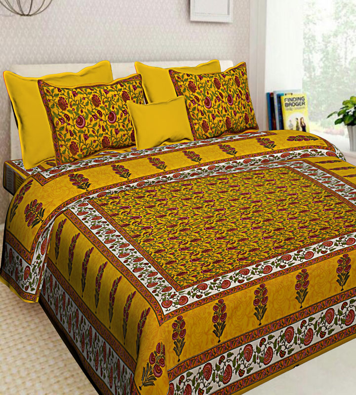 Yellow Golden yellow Cotton Jaipuri Bedsheet-594