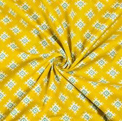 Yellow Gray Floral Block Print Cotton Fabric-28405