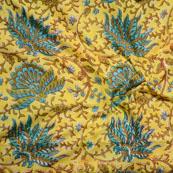 Yellow Green Block Print Cotton Fabric-14627