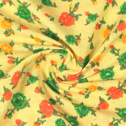 Yellow Green Block Print Cotton Fabric-16095