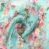 Yellow Green Flower Organza Digital Silk Fabric-51500