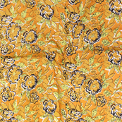 Yellow-Green and Black Floral Pattern Block Print Cotton Fabric-14310