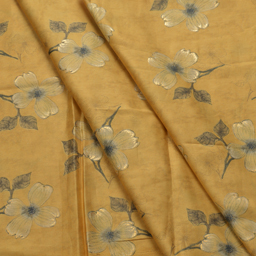 Yellow-Green and Golden Floral Design Jam Cotton Silk Fabric-75015