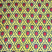 Yellow Green and Red Circular Pattern Hand Print Cotton Ajrakh Fabric