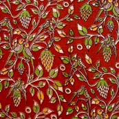 Yellow Green and Red Leaf Pattern Kalamkari Cotton Fabric