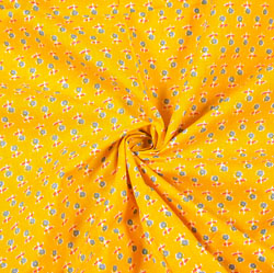 Yellow Green and White Floral Block Print Cotton Fabric-28515