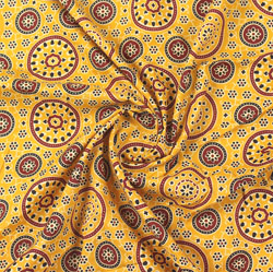 Yellow Maroon Ajrakh Cotton Fabric-16037