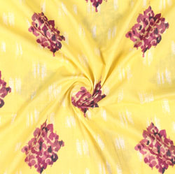 Yellow Maroon Block Print Cotton Fabric-16026