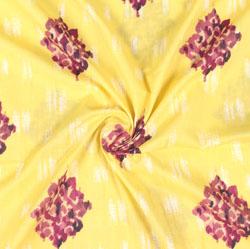 Yellow Maroon Block Print Cotton Fabric-16026