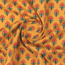 Yellow Orange Block Print Cotton Fabric-16163