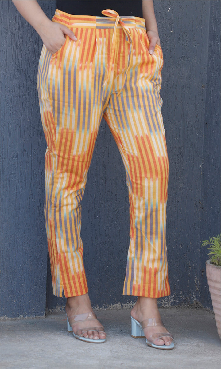 Yellow Orange Cotton Stripe Ankle Women Pant-34470
