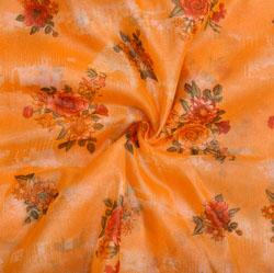 Yellow Orange Floral Organza Silk Fabric-22336