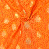 Yellow-Orange and Golden Floral Design Soft Brocade Silk Fabric-8128