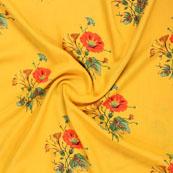 Yellow Orange and Green Block Print Rayon Fabric-14807