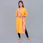 Yellow Pink And White Rayon Kurti With Tunic-22022