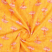 Yellow Pink Block Print Cotton Fabric-14813