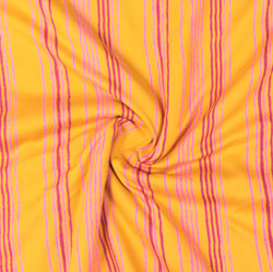 Yellow Pink Block Print Cotton Fabric-16025