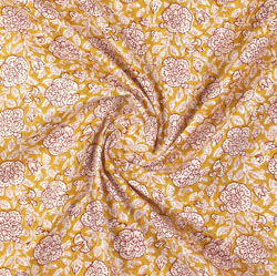 Yellow Pink Block Print Cotton Fabric-16059