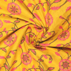 Yellow Pink Block Print Cotton Fabric-16076