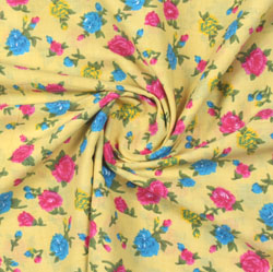 Yellow Pink Block Print Cotton Fabric-16116