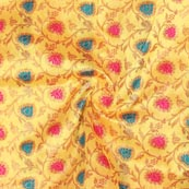 Yellow Pink Cyan and Golden Floral Brocade Silk Fabric-9282