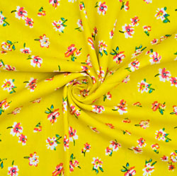 Yellow Pink Floral Cotton Fabric-28616