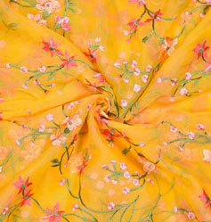 Yellow Pink Flower Organza Embroidery Fabric-22241