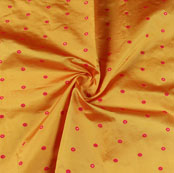 Yellow Pink Zari Dot Silk Fabric-9492