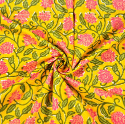 Yellow Pink and Green Floral Block Print Cotton Fabric-28470