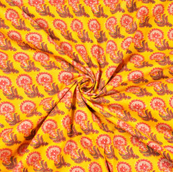 Yellow Pink and Green Floral Block Print Cotton Fabric-28484