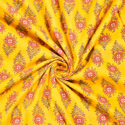 Yellow Pink and Green Floral Block Print Cotton Fabric-28540