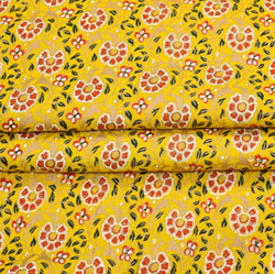 Yellow Pink and Green Floral Cotton Fabric-28090